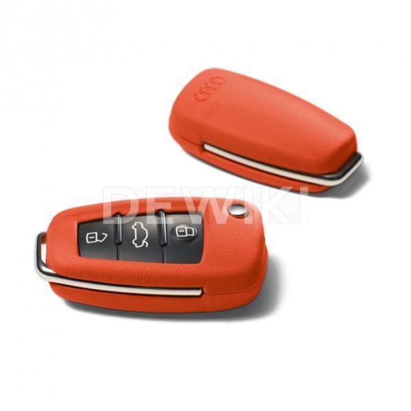 Кожаный футляр для ключа Audi, Begonia red