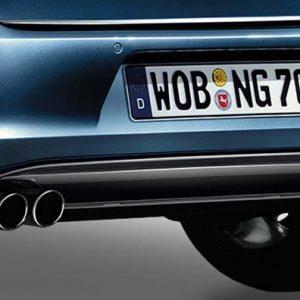 Накладка на бампер задний Volkswagen Golf 7, с вырезами для глушителя слева