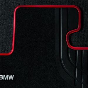 Велюровые передние коврики BMW F32/F33/F36/F82 4 серия, Sport Line Black/Red