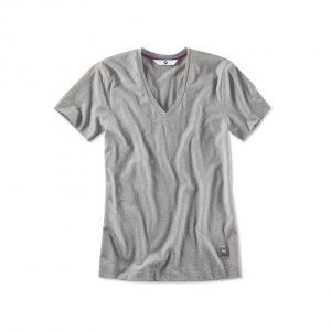 Женская футболка BMW с V-вырезом, Aluminium Grey Melange