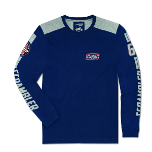 Синяя футболка с длинными рукавами Flat Track Scrambler