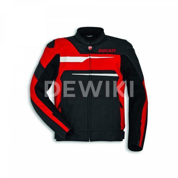 Мужская кожаная куртка Ducati Speed Evo C1, перфорированная, Black/Red