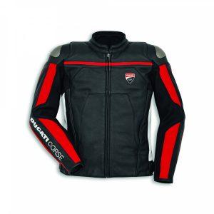 Мужская кожаная куртка Ducati Corse C4, перфорированная, Black/White