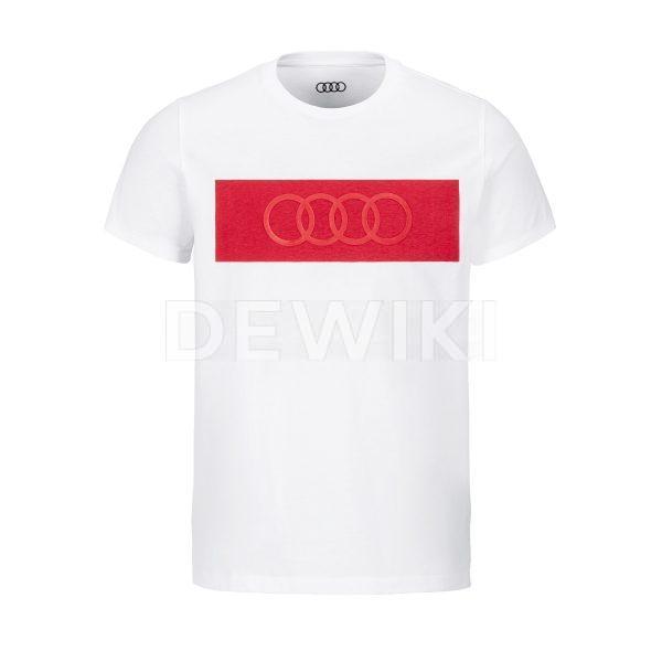 Мужская футболка кольца Audi, белая