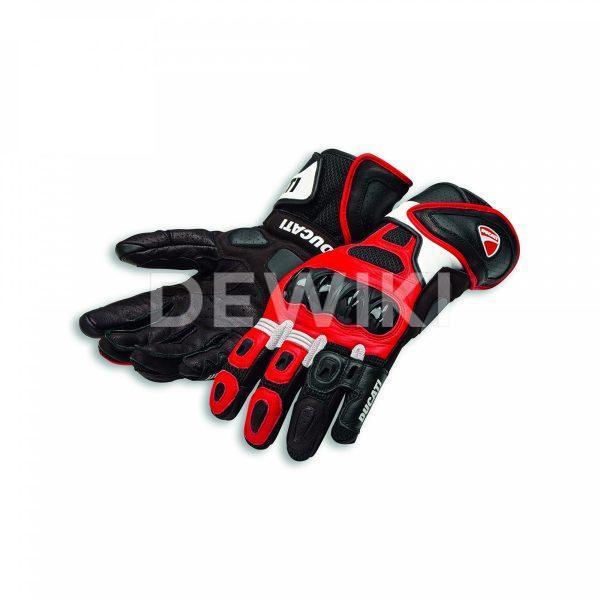 Кожаные мотоперчатки Ducati Speed Air C1, Black/Red/White
