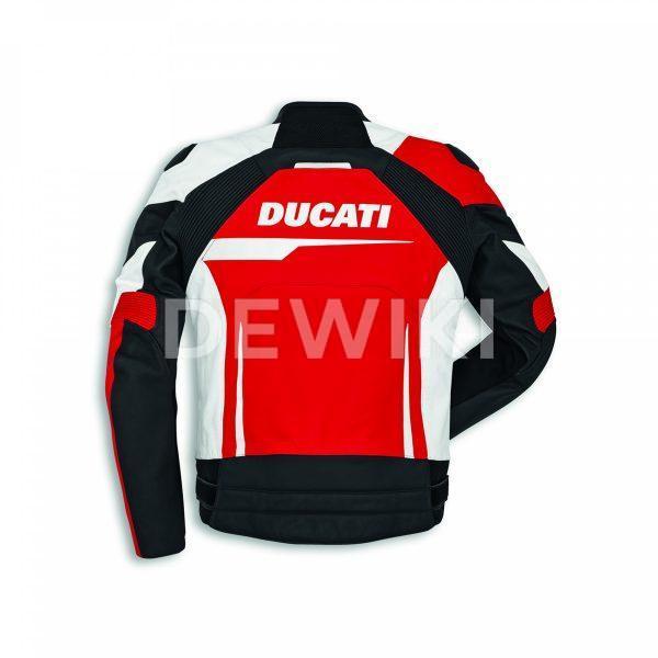Мужская кожаная куртка Ducati Speed Evo C1, стандартная, White/Black/Red