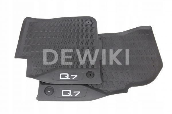 Резиновые передние коврики Audi Q7 (4M), белая надпись
