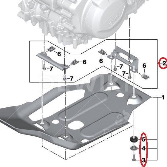 Комплект крепления алюминиевой защиты двигателя BMW F 750 / 850 GS