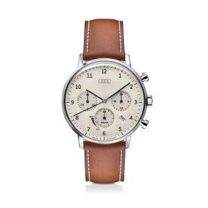 Мужские наручные часы хронограф Audi Chronograph Solar-powered, Beige/ Brown
